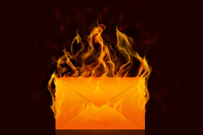 envelope on fire