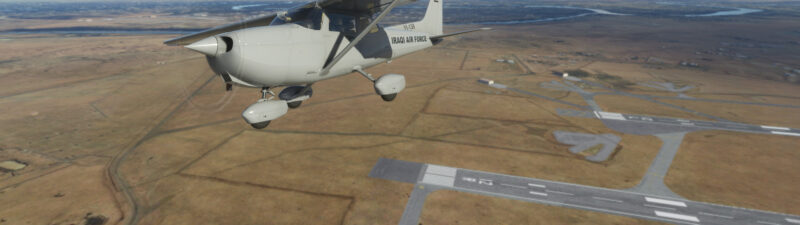 Iraqi Air Force Cessna 172 flying and banking right